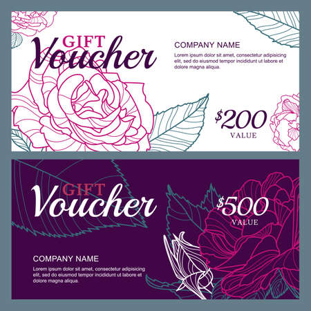 spring summer: Vector gift voucher template with pink roses flowers.