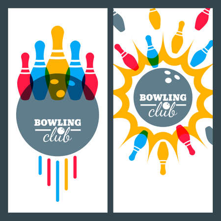 Bowling backgrounds and isolated elements for banner, poster, flyer, label design. Illustration