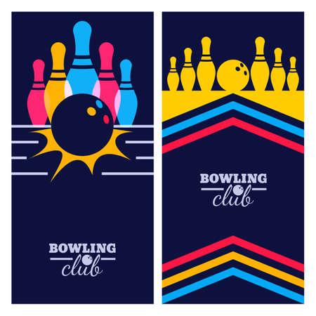 copy space: Set of bowling banner backgrounds, poster, flyer or label design elements.