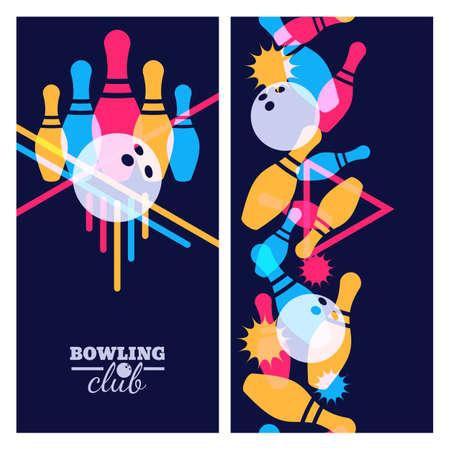 Set of bowling banner, poster, flyer or label design elements. Vertical seamless colorful black background. Abstract vector illustration of bowling game. Colorful bowling ball, bowling pins. Stock Illustratie