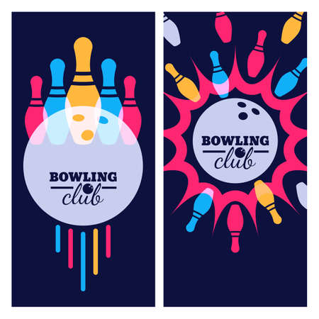 strike: Bowling backgrounds, icons and elements for banner, poster, flyer, label design. Abstract vector illustration of bowling game. Colorful bowling ball, bowling pins on black background.