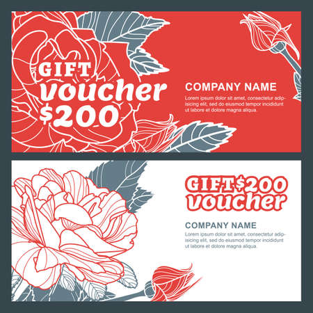 Vector gift voucher, summer design with red roses flowers. Business floral card template. Roses background. Concept for floral shop, beauty salon, spa, flyer, gift coupon, invitation, banner design.