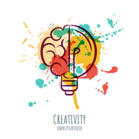 high technology: Vector watercolor illustration of brain and light bulb. Abstract watercolor background with human brain and bulb. Design concept for business solutions, high technology, development or creativity.