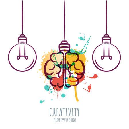 Vector illustratie van de waterverf de hersenen van de mens en overzicht lampen, geïsoleerd op een witte achtergrond. Ontwerp concept voor zakelijke oplossingen, uitvinding en innovatie, creativiteit, wetenschappelijk. Vector Illustratie