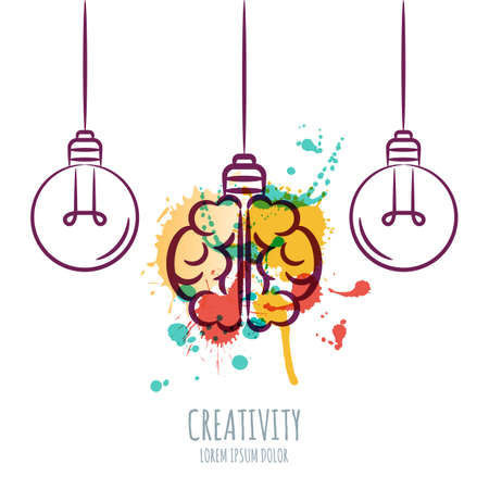 inventions: Vector illustration of watercolor human brain and outline light bulbs, isolated on white background. Design concept for business solutions, invention and innovation, creativity, scientific.