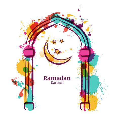 Ramadan Kareem vector watercolor background with colorful moon and stars in the window. Greeting card template for ramadan holiday with place for text. Design concept for muslim ramadan holiday.