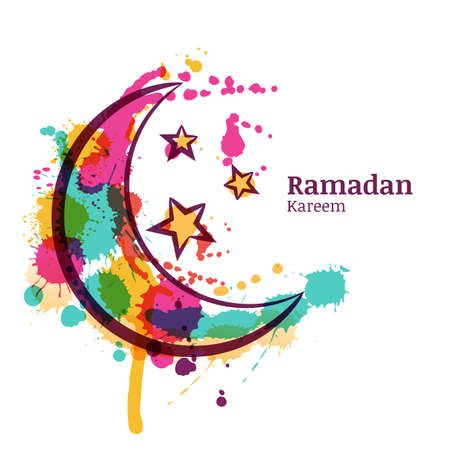 Ramadan greeting card with watercolor decorative moon and stars. Ramadan Kareem. Design concept for muslim ramadan holiday. Vector arabian holiday watercolor background.