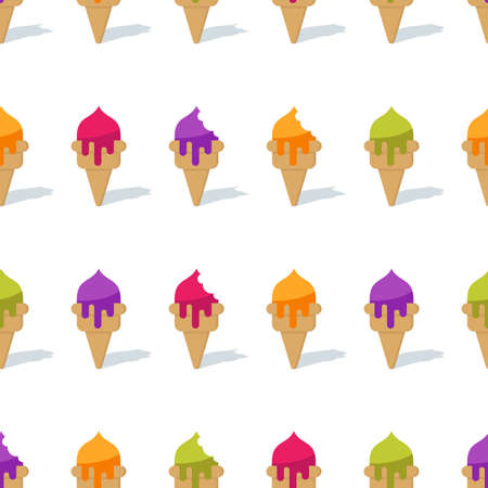 yogurt ice cream: Vector seamless background with colorful cones ice cream. Ice cream or frozen yogurt pattern. Design for summer fashion textile print, wrapping paper, web backgrounds, cafe and desserts.