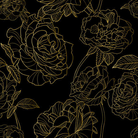 Vector seamless pattern. Golden outline rose flowers on black background. Floral illustration. Luxury design concept for fabric design, textile print, wrapping paper or web backgrounds. Vettoriali