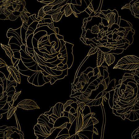Vector sin patrón. esquema de oro rosa flores sobre fondo negro. Ilustración floral. concepto de diseño de lujo para el diseño de la tela, impresión textil, papel de regalo o fondos web.