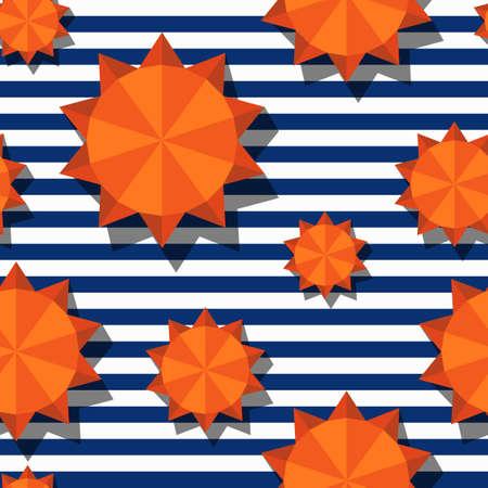 矢量无缝模式与3d程式化的橙色太阳和海军条纹。夏季海洋条纹背景。设计几何时尚纺织印花,包装纸,网页背景。