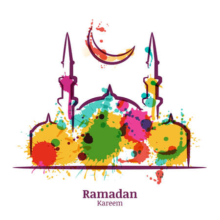 Ramadan Kareem greeting card with watercolor illustration of mosque and moon. Vector ramadan holiday watercolor background. Design concept for muslim ramadan holiday.