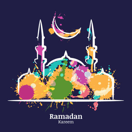 Ramadan Kareem greeting card with watercolor night illustration of mosque and moon. Vector ramadan holiday watercolor background. Design concept for muslim ramadan holiday.