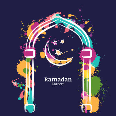 salam: Ramadan Kareem vector watercolor night background with colorful moon and stars in the window. Greeting card template for ramadan holiday with place for text. Design concept for muslim ramadan holiday.