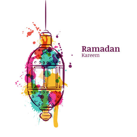 Ramadan greeting card with traditional watercolor lantern. Ramadan Kareem watercolor background. Design concept for muslim ramadan holiday. Vector arabian holiday background.