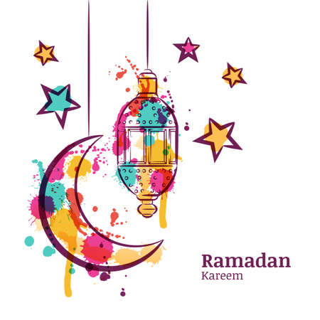 Ramadan greeting card with traditional watercolor lantern, moon and stars. Ramadan Kareem watercolor decoration background. Design for muslim ramadan holiday. Vector arabian holiday background. Vettoriali