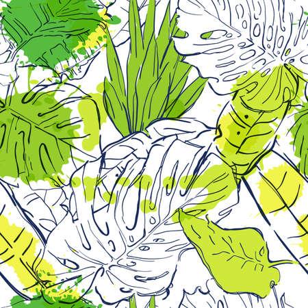 Vector naadloos patroon met omtrek tropische palmbladeren en aquarel vlekken. Zomer aard illustratie. Ontwerp voor mode textiel zomer print, inpakpapier, web achtergronden.