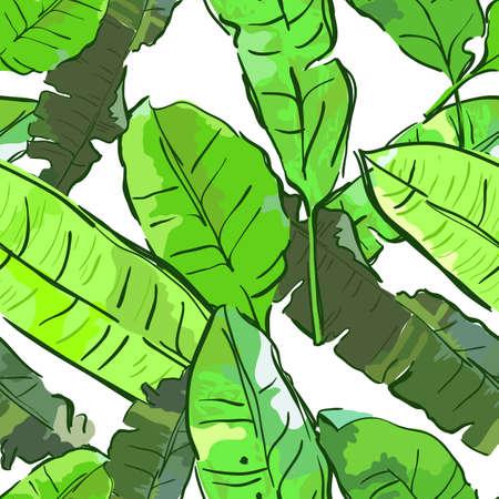 Vector zomer naadloos patroon met banaan palmbladeren. Tropische bladeren, bloemen achtergrond. Ontwerp voor stof, textieldruk, inpakpapier of web achtergronden.