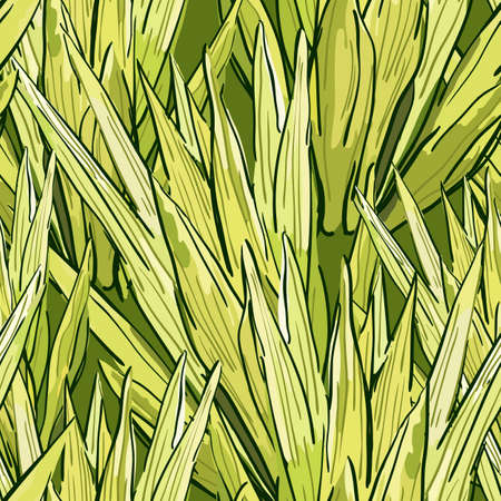nature backgrounds: Nature organic background with tropical leaves. Vector summer seamless pattern with green leaves. Hand drawn tropical background. Design for fabric, textile print, wrapping paper or web backgrounds.