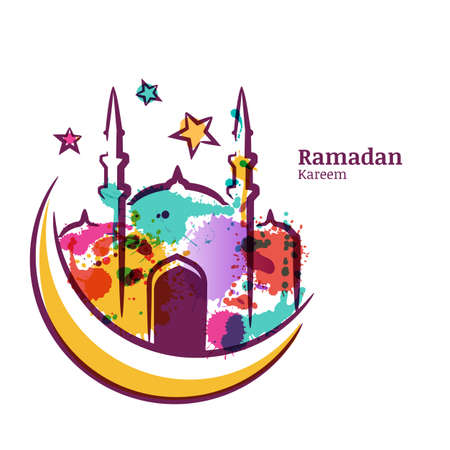 Ramadan Kareem greeting card with watercolor isolated illustration of multicolor mosque on moon. Vector ramadan holiday, watercolor background. Design concept for muslim ramadan holiday.