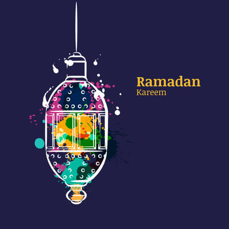 斋月贺卡与传统水彩夜灯笼。赖买丹月Kareem水彩深蓝背景。导航穆斯林斋月假日的设计概念。