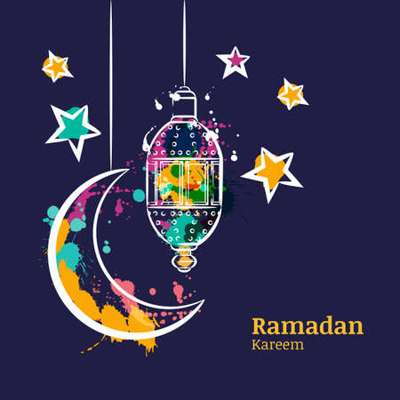 Ramadan greeting card with traditional watercolor lantern, moon and stars on night sky. Ramadan Kareem watercolor decoration background. Vector design for muslim ramadan holiday.