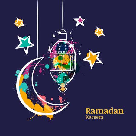 Ramadan greeting card with traditional watercolor lantern, moon and stars on night sky. Ramadan Kareem watercolor decoration background. Vector design for muslim ramadan holiday.