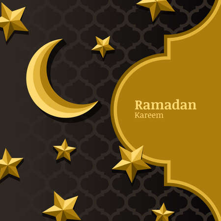 gold banner: Vector arabic pattern, 3d stylized golden moon, stars and gold frame. Arabesque ornaments for ramadan holiday decoration. Ramadan holiday abstract background for banners, greeting cards, flyers.