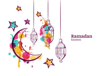 Ramadan greeting card or banner horizontal background. Traditional watercolor lanterns, moon and stars. Ramadan Kareem watercolor decoration background. Vector design for muslim ramadan holiday.