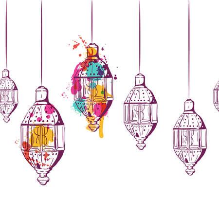 Contexte horizontal sans vis à vis avec des lanternes aquarelles dessinées à la main. Concept de conception pour les musulmans ramadan kareem décoration de vacances, bannière, carte, fond. Croquis linéaire linéaire, isolé. Vecteurs