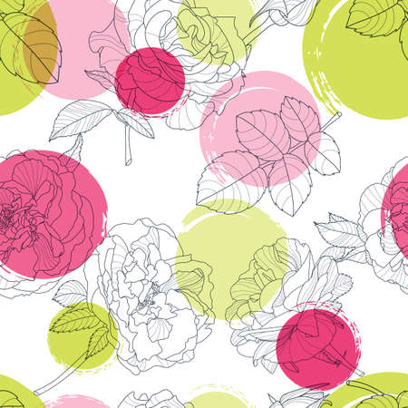 black fabric: Vector seamless pattern with beautiful roses flower and colorful watercolor blots. Black and white floral line illustration. Design for fabric, textile print, wrapping paper. Roses background.