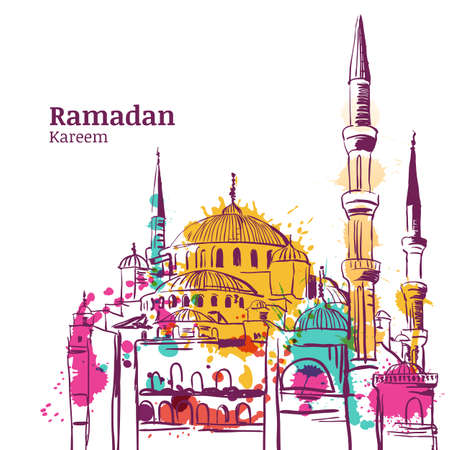 greeting card: Ramadan Kareem holiday design. Watercolor sketch illustration of mosque. Vector ramadan holiday watercolor background. Greeting card or banner for muslim ramadan holiday. Illustration