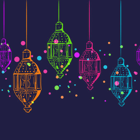 Vector seamless horizontal night background with outline lanterns. Design for muslim ramadan kareem holiday decoration, banner, card, background. Multicolor glowing lanterns.