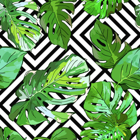 Green palm tree leaves on black and white geometric background. Vector summer seamless pattern. Hand drawn tropical leaves background. Design for fabric, textile print, wrapping paper or web. Vettoriali