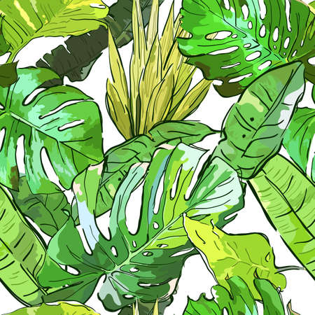 Green jungle vector seamless pattern. Summer background with hand drawn tropical palm tree leaves. Nature background. Design for fashion textile summer print, wrapping, web backgrounds.