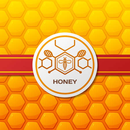 dipper: Vector honey  , label design elements. Honeycombs texture background with ribbon and round label. Linear bee and honey dipper symbol. Template for honey package, tag or wrapping.