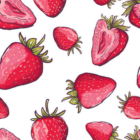 ladylike: Vector seamless pattern with red strawberries. Hand draw colorful summer background with berries. Design for fabric, textile print, wrapping paper. Healthy food illustration.
