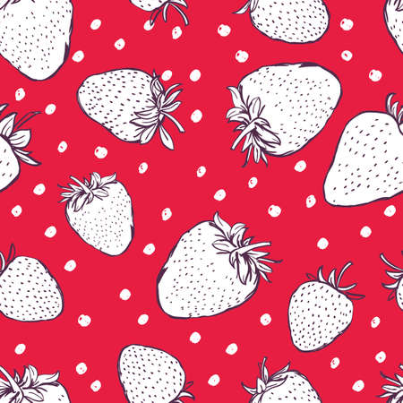 red berries: Vector seamless pattern with hand drawn outline strawberries and polka dots. Red background with white berries. Design for fabric, textile print, wrapping paper.