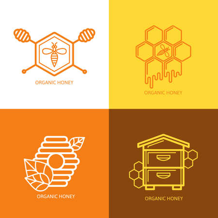 dipper: Set of honey label,    honeycombs and honey dipper outline illustration. Concept for honey package, banner, wrapping. Illustration