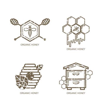 colmena: Conjunto de vector de la etiqueta de la miel, etiqueta, elementos de diseño de la etiqueta engomada. Abeja, colmena, panales y la ilustración esquema brazo de miel con el grunge textura extraíble. Concepto para el paquete de miel, bandera, envoltura.