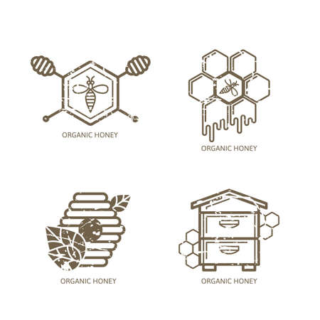 Set of vector honey label,   tag, sticker design elements. Bee, hive, honeycombs and honey dipper outline illustration with grunge removable texture. Concept for honey package, banner, wrapping. Ilustração