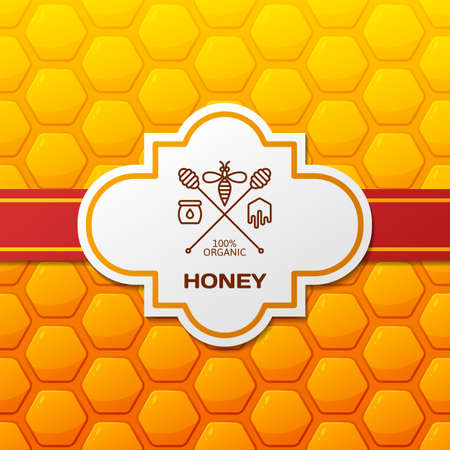 Vector honey label,   tag, design elements and background. Honeycombs pattern with red ribbon and label. Outline bee and honey dipper symbol. Template for honey package or wrapping. Ilustração