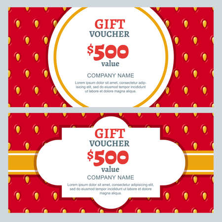 vouchers: Vector gift voucher, summer design with strawberry texture background. Business card template. Design concept for beauty salon, market, flyer, gift coupon, invitation, banner design. Illustration
