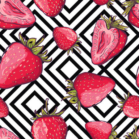 the womanly: Vector summer seamless pattern. Red strawberries on black and white geometric background. Hand drawn juicy berries background. Design for fabric, textile print, wrapping paper or web.
