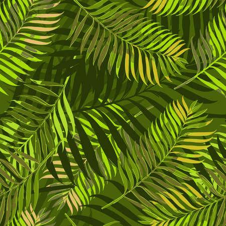 手のひらでシームレスなパターンをベクトルを葉します。ファッション繊維夏のデザイン印刷、包装紙、ウェブの背景。 手描きの熱帯のヤシの葉背景。緑のジャングル夏背景。 写真素材 - 58785380