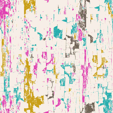 industrial decor: Vector abstract seamless background. Painted white wooden wall. Multicolor grunge texture. Design for fashion textile print, interior or wrapping.