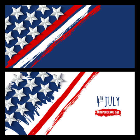 poster backgrounds: Vector watercolor horizontal banners and backgrounds. 4th of July, USA Independence Day. Watercolor USA flag on white and blue background. Design for greeting card, holiday banner, flyer, poster.
