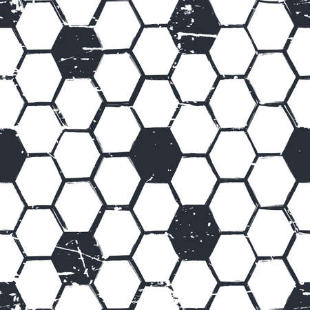 beeswax: Vector grunge seamless pattern with hand drawn watercolor honeycombs. Organic honey black and white background. Concept for honey package design, label, wrapping.