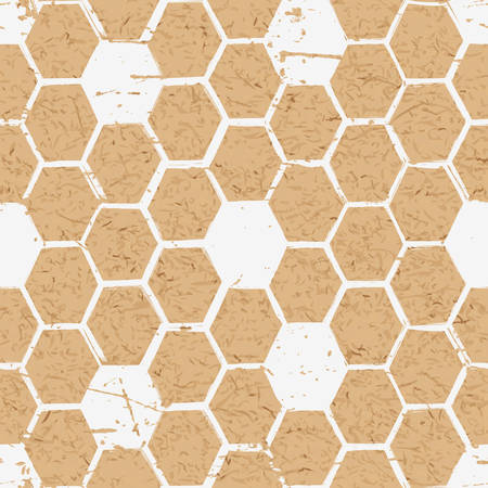 honeyed: Vector grunge seamless pattern with hand drawn watercolor honeycombs and craft paper. Organic honey background. White painted cardboard texture. Concept for honey package design, label, wrapping.