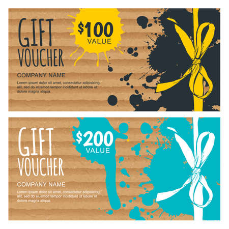 hand craft: Vector gift voucher template. Hand drawn bow ribbon and craft cardboard with watercolor stains. Holiday cards on vintage paper. Design for gift coupon, invitation, certificate, flyer, banner. Illustration
